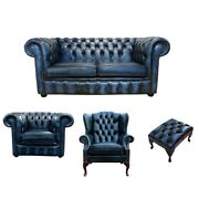 Chesterfield Pads Sofa Textile Sofa Set Leather 2+1 Seat Wing Chair 465