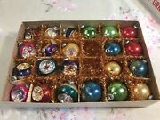 22 Vintage Mini Shiny Brite Glass Christmas Ornaments Balls And Indents W/ Box