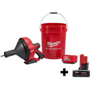 Milwaukee Auger Snake Drain Cleaning Kit 12-volt Lithium-ion Battery Cordless