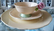 Rare Paragon Rose Handle Apricot Cup And Saucer And Plate Trio Set England Vintage