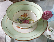 Rare Paragon Rose Handle Green Cup And Saucer Round Gold England Vintage