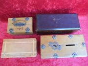4 Beautiful, Old Money Boxes __chests__ Wood __ Old _ W. Um 1900