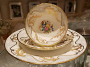 Hammersley Vintage Trio Set Cup And Saucer And Plate Gray Gold Hand Paint Flower