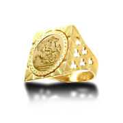 Jewelco London 9ct Gold Clubs Clovers Square Top St George Ring Half Sov Size