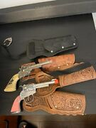 Vintage Gabriel Cap Gun And Pink One And Holster Lot Western Cowboy