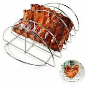 Bbq Rib Rack Great Grilling Stainless Steel Roast Rack Holds 5 Baby Back Ribs