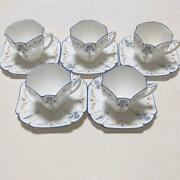 Shelley Blue Iris Set Of 5 Cup And Saucer Queen Anne 11561 Vintage Blue Edge
