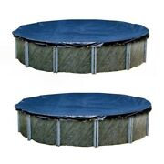 Swimline 21 Foot Round Above Ground Winter Swimming Pool Cover Blue 2 Pack