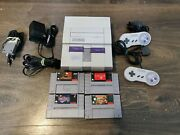 Super Nintendo Snes System Console With 4 Games And Oem Cables And Oem Controllers