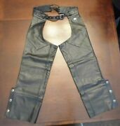 Harley Davidson Motorcycles Women's Deluxe Black Leather Riding Chaps Size Xl