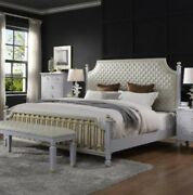 Acme House Marchese California King Bed In Beige Pu And Pearl Gray Finish