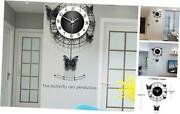 Butterfly Wall Clock Silent Non-ticking Battery Operated 14.9in Blackandwhite