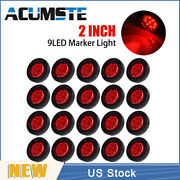 20pcs Red 2 Round 9 Led Truck Side Marker Lights Clearance Lamps Waterproof