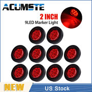 10x Red 2 Round 9 Led Truck Side Marker Lights Clearance Lamps Waterproof New