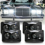 4pc Black 4x6 Led Headlights For Mercury Grand Marquis And Town Car And Continental