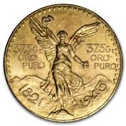1943 Mexico 50 Pesos Bu 1.2 Oz. Gold Coin Key Date Lowest Mintage Only 89000
