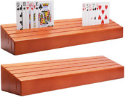 Wooden Playing Card Holder Set Of 2 Solid Card Tray Rack Organizer For Kids Seni