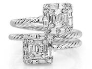 Large 1.04ct Diamond 18kt White Gold Round And Baguette Double Square Snake Ring