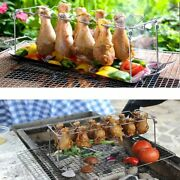 Stainless Steel Chicken Wing Leg Rack Grill Holder With Drip Pan For Bbq Quality