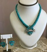 Vintage Navajo Sterling Silver Turquoise Necklace And Earrings Set Earl Plummer
