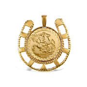 Jewelco London 9ct Gold Lucky Horse Shoe Frame St George Pendant Full Sov Size