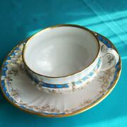 Kpm Berlin Cup And Saucer Edge Of Gold Turquoise Blue White Vintage Flower Germany