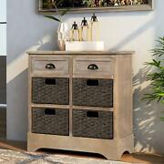 Home Console Table Entryway Indoor Furniture Storage Drawers 4 Wicker Baskets