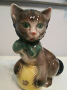 Vintage Royal Copley Cat With Ball Of Yarn And Green Bow Planter, Ceramic