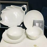 Royal Copenhagen White Fluted Half Lace Leaf Dish And 2 Cup And Saucer Denmark