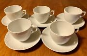 Royal Copenhagen White Fluted Half Lace Set Of 5 Cup Saucer Denmark 1st Quality