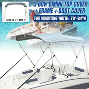 Boat Bimini Top 3 Bow Cover 79-84 Width 6ft W Boot And Framework Rear Pole 600d