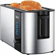 Toaster 4 Slice Toaster 2 Long Slot Stainless Steel Warming Rack 6 Browning