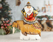 Hand-carved Santa Claus On The Walrus Wooden Santa Figurines Ded Moroz Figure