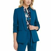 Dkny Womenand039s 3/4 Ruched-sleeve Open-front Blazer Jacket Top Tedo