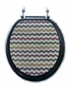 Brown Waves Resin Acrylic Toilet Seat, Standard Round With Chrome Hinges