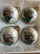 Christmas By Krebs Disney Ornaments Vintage Mickey And Pluto Complete Set Of 4