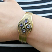 Antique Victorian Gold Hinged Bangle With Pearls And Amethyst 18ct 22ct