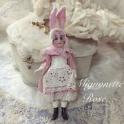Rare Antique Bisque Doll Mignonette Bunny Figure Doll Pink Rabbit Japan Used