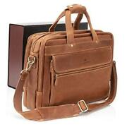 Leather Briefcases For Men | Soft Full-grain Leather 14 Inch Light Brown