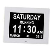 Digital Calendar Day Clocks Extra Large Non-abbreviated Dayandmonth.perfect White