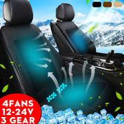 12-24v 4 Built-in Ice Silk Car Seat Cushion Cover Air Ventilated Fan Cooler Pads