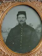 Full Case Sixth Plate Civil War Soldier With Mustache Tintype Great Condition