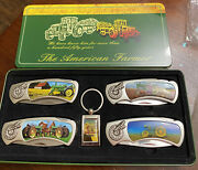John Deere Tractor Knife Set Of 4 Stainless Steel Blades In Collectors Keychain