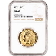 1932 Us Gold 10 Indian Head Eagle - Ngc Ms62