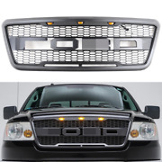 Front Grille Fits For Ford 2004-2008 F-150 Raptor Style Black Grill W/letter Led