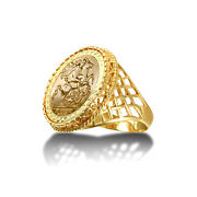 Jewelco London 9ct Gold Rope Edge Basket St George Ring Full Sov Size