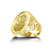 Jewelco London 9ct Gold Octagon Scroll St George Ring Full Sov Size