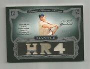 Mickey Mantle Sterling 3-jersey Piece Card Home Run 4 And Number 6/10 Hit In 6