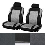 2pcs Car Front Seat Cover Cushions Protector Fashion 3d Propeller Embossed Gray