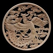 Wooden Frame Appliques 40x40cm Rubberwood Onlay Carved Long Leaves Flower Decors